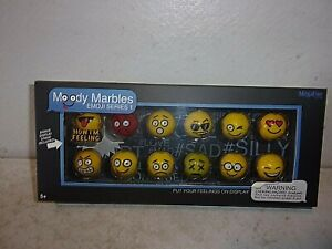 Emoji-Glass-Shooter-Moody-Marbles-with-Display-Stand-Series-1-New-in-Box