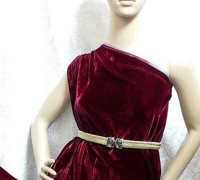 By the Yard Grade AAAAA Silk Velvet Fabric Clothing Drapery Material Beauty Red