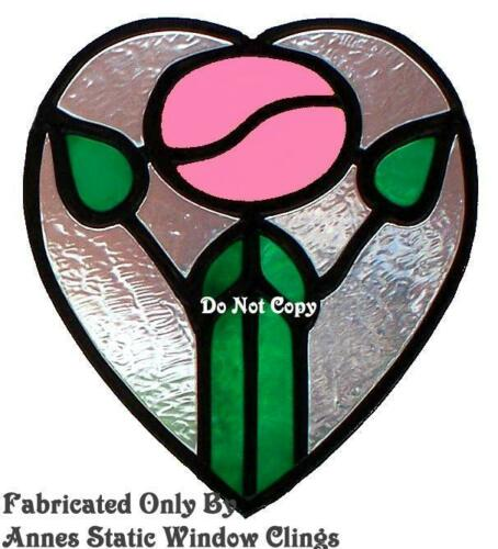VICTORIAN ROSE STAIN GLASS LOOK WINDOW CLING FILM DECAL SUN CATCHER DECORATION
