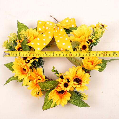 Artificial Sunflower Summer Wreath Green Leaves Front Door Indoor Wall Decor