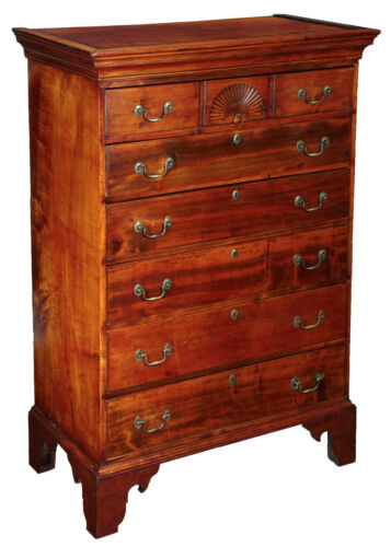 SWC-Chippendale 6-drawer Dishtop Tall Chest, c.1770