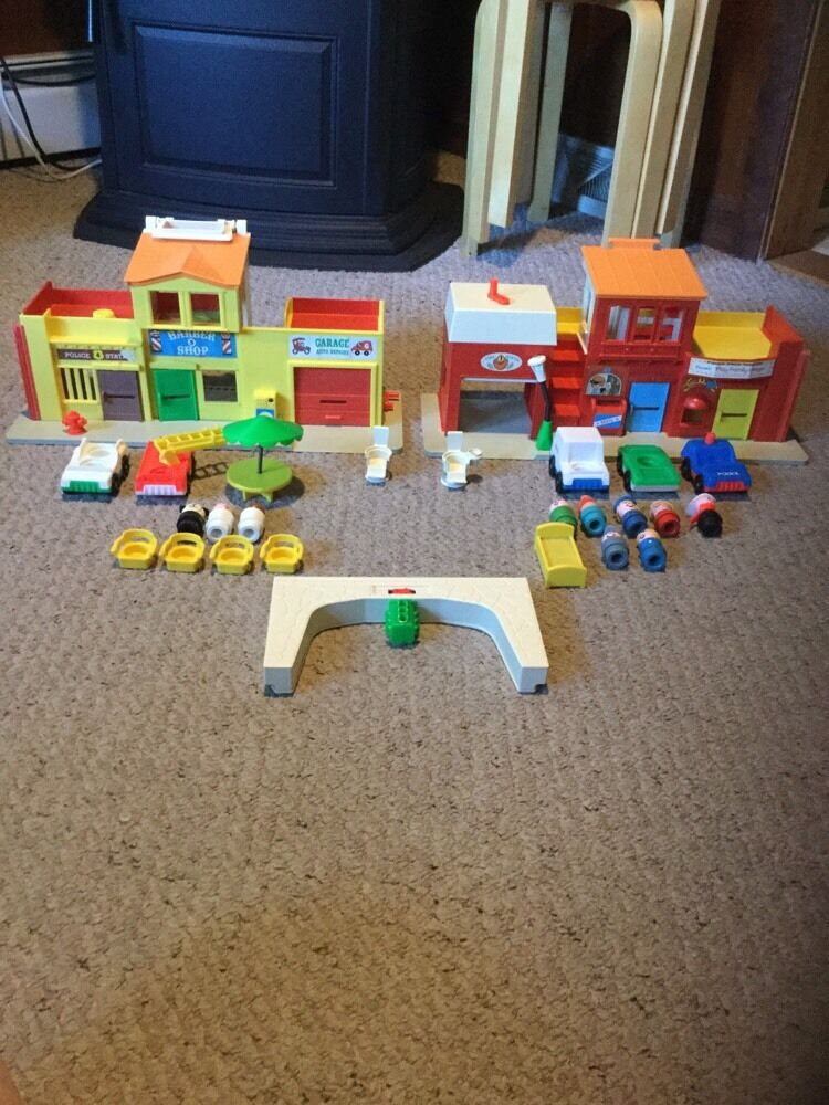 Vintage Beautiful Fisher Price Village.  See Pics For Details.