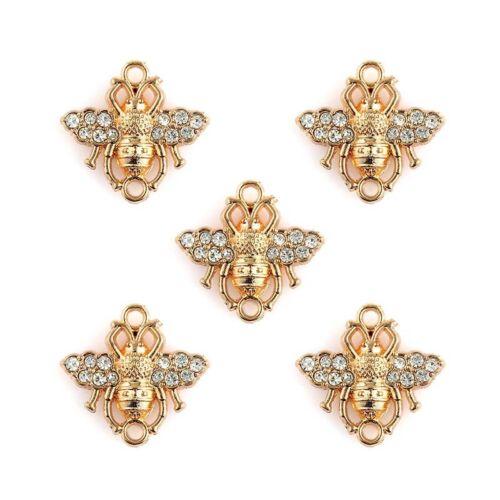 10PC cristal Plaqué or Bee Connecteurs Charme pour À faire soi-même Collier//Bracelet Craft