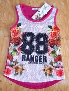 T-SHIRT-DEBARDEUR-ROSE-FLEUR-FILLE-4-8-10-ANS-STRASS-88-RANGER-NATIONAL-FOREST