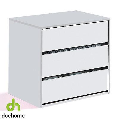 Cajonera interior de armario con 3 cajones, cajon para armario, Blanco Brillo