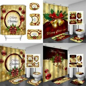 Merry-Christmas-Shower-Curtain-Bathroom-Anti-slip-Rug-Toilet-Cover-Mat-Set-Hot