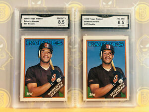 1988-2x-Topps-Traded-Roberto-Alomar-4T-Rookie-8-5-NM-MINT-GMA-Graded-Card-Lot