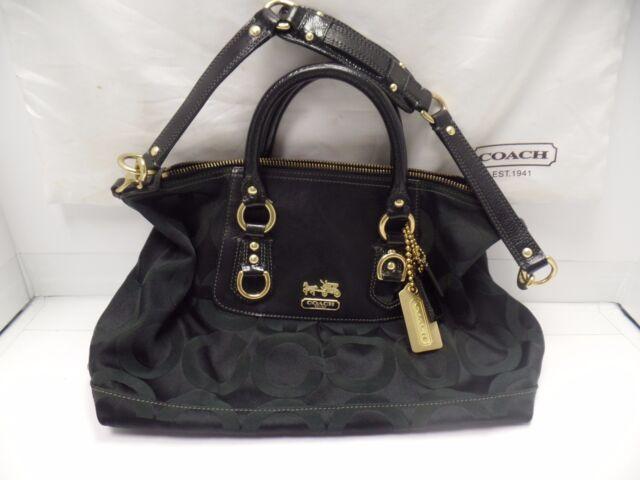 100% Authentic COACH Madison Black Op Art Jacquard Sabrina Satchel   F0868-12947 296901a5347b9