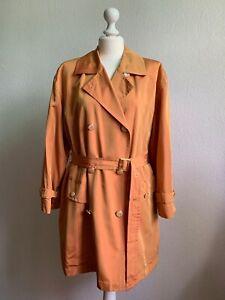Details zu ESCADA Luxus Trenchcoat Mantel Vintage Orange Changierend Gürtel Military Gr. 38