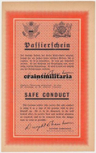 Passierschein für VOLKSSTURM Gefangene Propaganda Leaflet Orig US Flugblatt