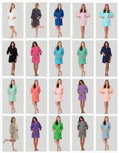 e8f67effe2 Image is loading Short-Lightweight-Waffle-Kimono-Bathrobe -Square-Pattern-Bridesmaids-