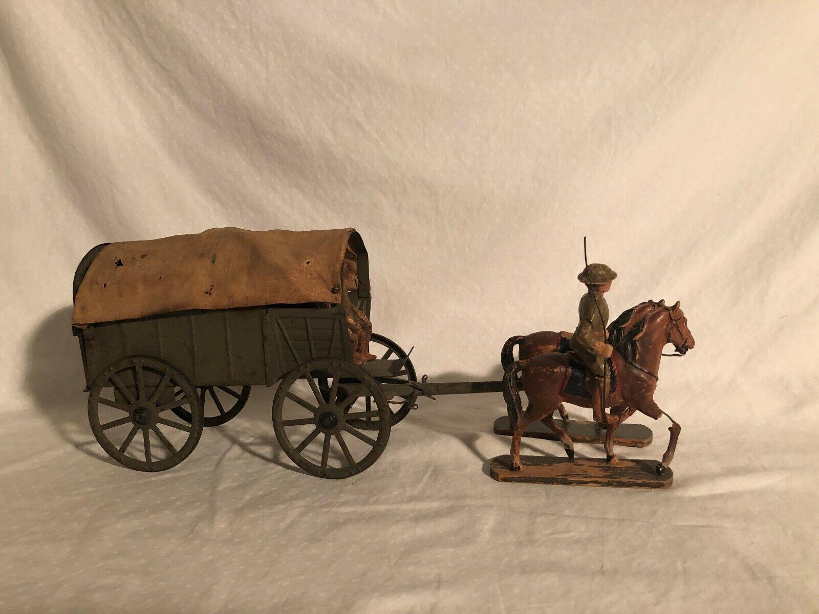 Elastolin RARE 10cm Size Large Horse drawn Army Wagon