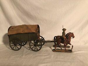 Elastolin Rare 10cm Taille L Cheval Dessiné Armée Wagon