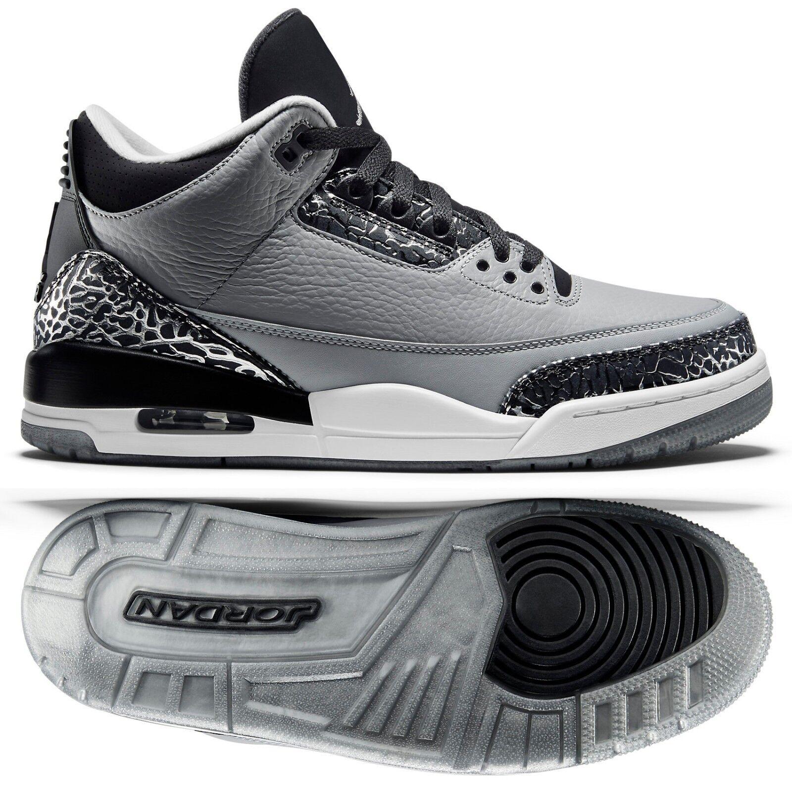 Nike air jordan 136064-004 lupo grigio / argento 3 retrò / nero / bianco scarpe da uomo