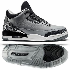 nike air jordan 3 retro 136064 004 wolf grey/silver/black/white mens shoes