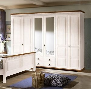 sevilla kleiderschrank 90 26 schrank 6 t rig landhaus kiefer massiv weiss ebay. Black Bedroom Furniture Sets. Home Design Ideas