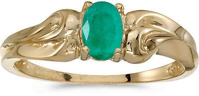 10k Gelbgold Vintage Stil 3-Stone Original Smaragd und Diamant Ring
