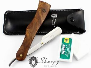 SHARPY-WOODEN-BARBERS-CUT-THROAT-RAZOR-SET-COMPLETE-WITH-BLADES-AND-POUCH
