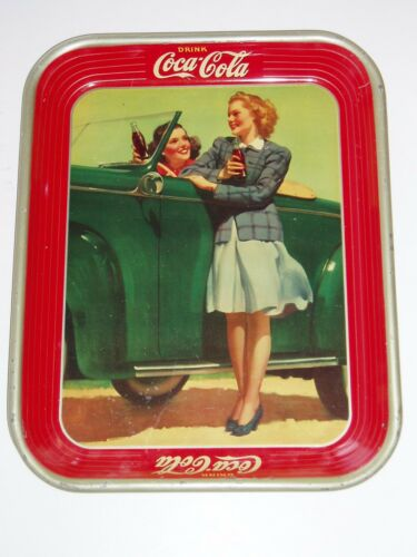 1942 CocaCola Two Girls with a Green Convertible Serving Tray! Vintage Coke