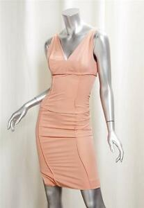 NARCISO-RODRIGUEZ-Peach-Wool-Cotton-Fitted-Sleeveless-Pencil-Dress-sz-4-36
