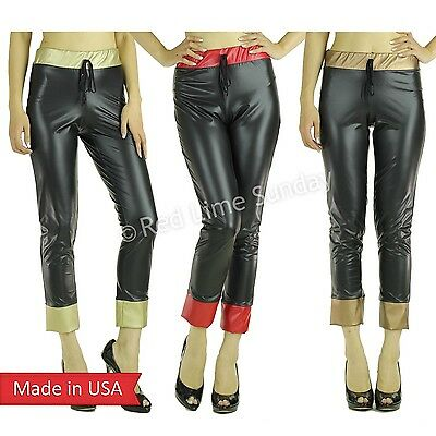 Hot Sexy Celebrity Faux Leather Capri Joggers Jeggings Leggings Pants USA MADE