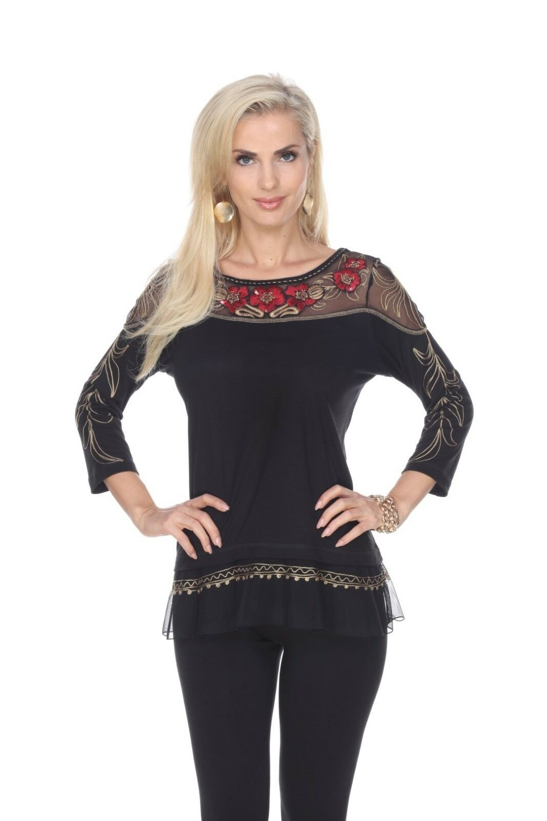 Woherren Top Tunic Blouse schwarz rot Sheer Mesh Krista Lee Astoria Embroidery NEW