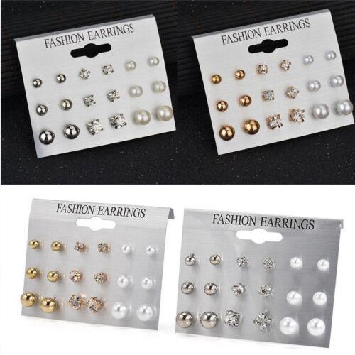 Fashion Girl Rhinestone Crystal Pearl Earrings Set Women Ear Stud Jewelry