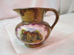 Vintage-England-Stoke-On-Trent-Gray-039-s-Pottery-Copper-Luster-Creamer-Pitcher
