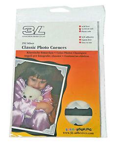 3L-01803-Silver-Classic-Photo-Corners-Self-Adhesive-252-Corner-Pack-12mm