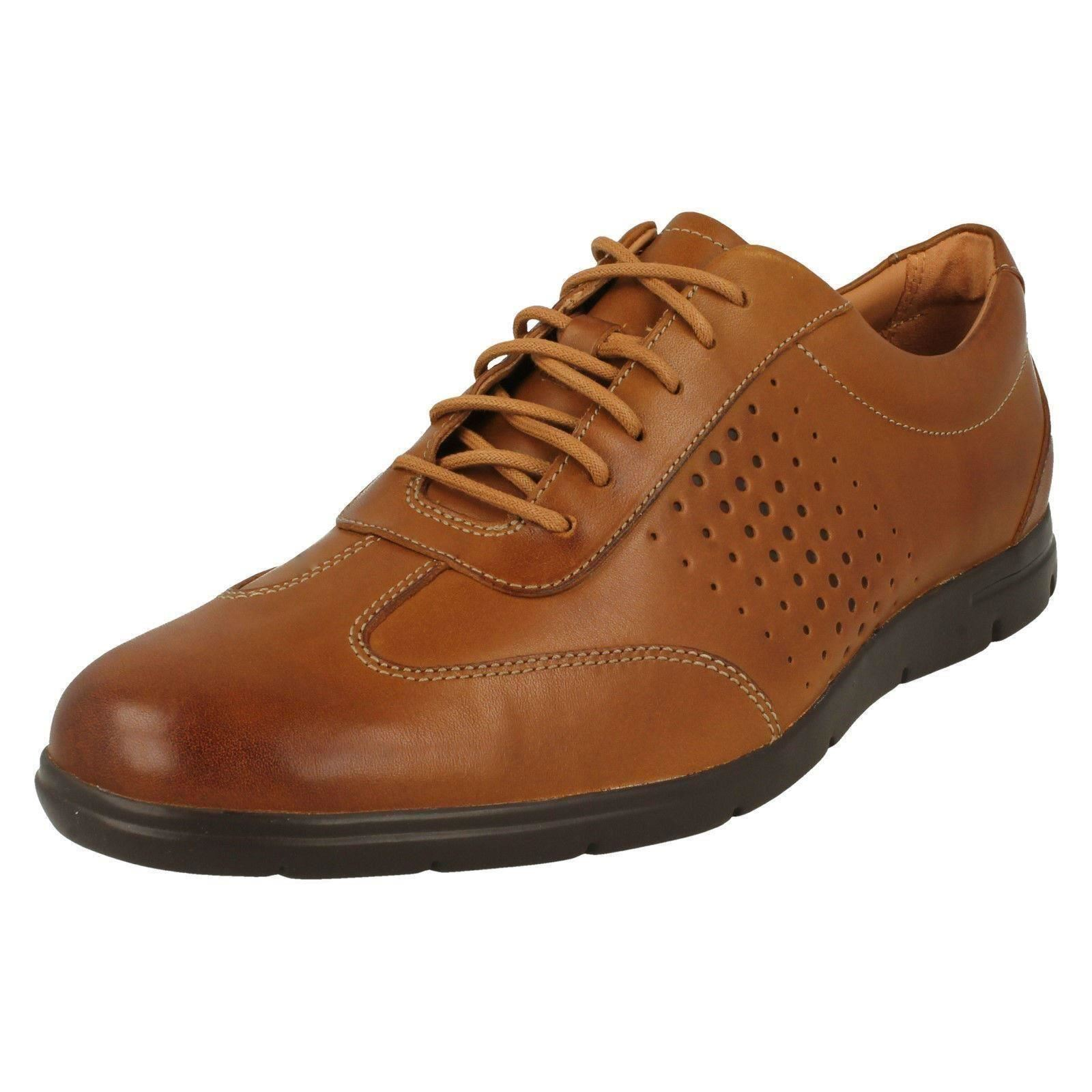 Mens Clarks Vennor Vibe Tan Leather Casual Lace Up Shoes
