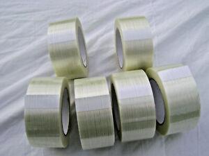 Ruban adhésif armé ( fibre de verre ) 140 microns 50 mm x 50 m LOT de 6 ROULEAUX