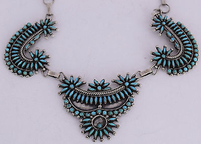 Old ceremonial Zuni sterling silver petit & needle point Turquoise huge necklace