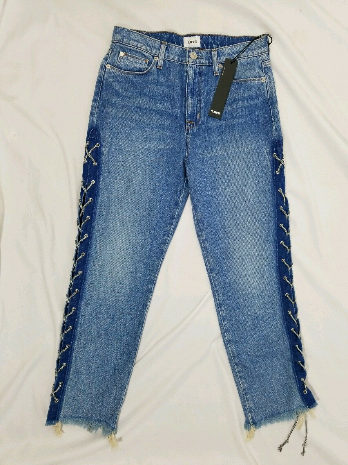 HUDSON High Rise Zoeey Lace Up Straight Crop Jeans Sz 29