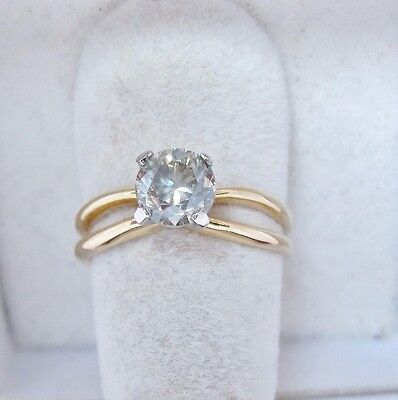 Vintage 14K Gold Ring with 1.03+ Carat 6.15mm Round Natural Diamond  (size 6)