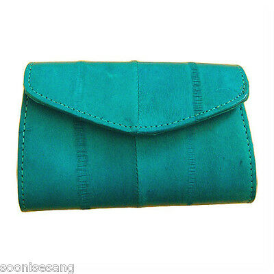 Genuine Eel Skin Leather Button Coin Purse Rectangle Mini Wallet (Teal)