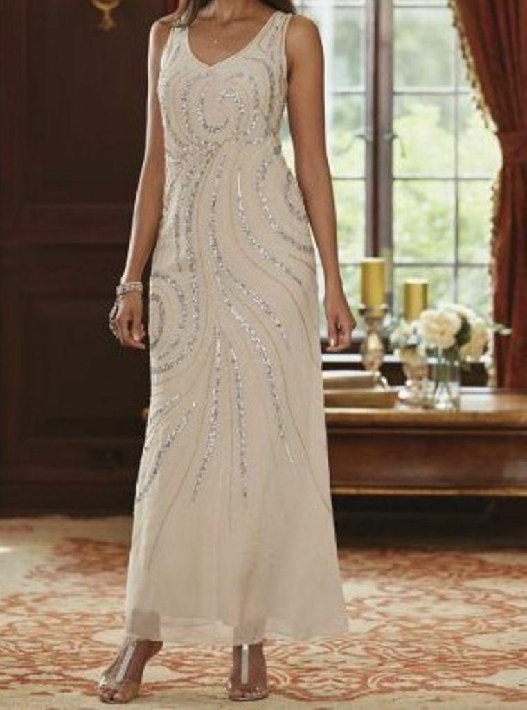 size medium Champagne Swirl Gown Dress formal wear by Midnight Velvet new