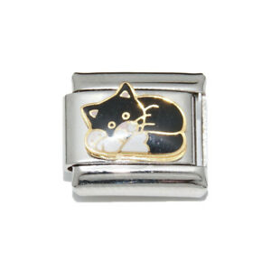 fits 9mm classic Italian charm bracelets White and gold cat 9mm Italian charm