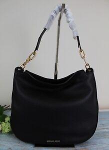 970c8164cd91 NWT Michael Kors Fulton Large Soft Leather Hobo Shoulder Bag Black ...
