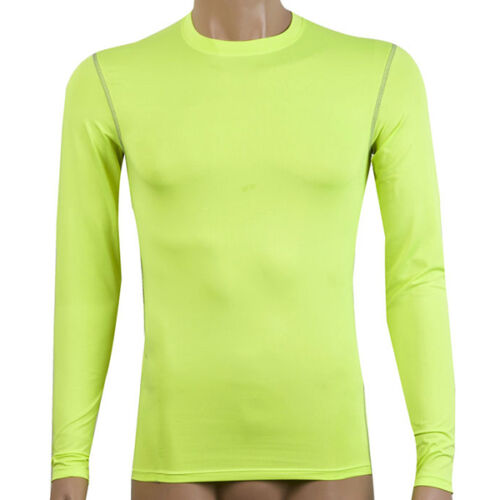 Men Compression Long Sleeve TightShirt Thermal Base Layer Gym Fitness Athletic