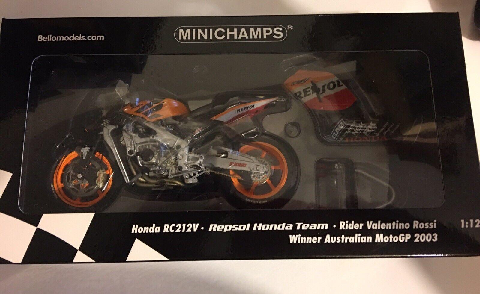 1 12 Minichamps  RC212V Winner Australia 2003 Bellomodels+Figure Valentino Rossi