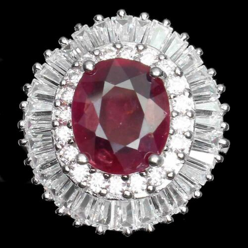 Oval Red Ruby 11x9mm White Cz 14K White Gold Plate 925 Sterling Silver Ring