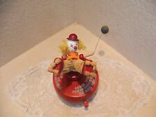 Vintage Music Box Dancer Schmid Bros Wooden Clown With Dog And Balloon