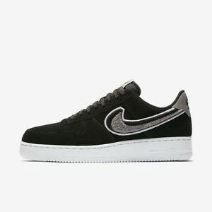 60025041cff Nike Air Force 1 Low 07 LV8 Chenille Swoosh Black Cool Grey White ...