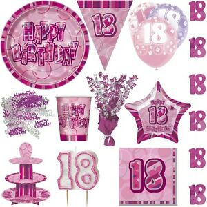 18 Geburtstag Party Deko Rosa Pink Jubilaum Dekoration Set