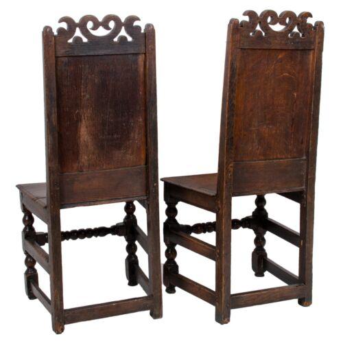 17th C. English Oak Wainscot Chairs - A Pair