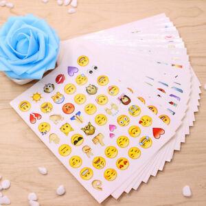 Kit-19-fogli-adesivi-adesivo-sticker-decorazione-emoticon-smiley-emoji-faccine