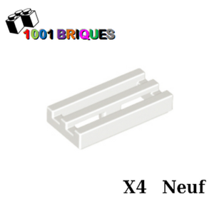 Modified 1 x 2 Grille with Bottom Groove Lip White Lego 2412b x4 Tile
