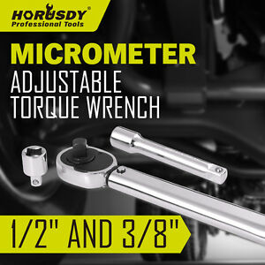 New-3Pc-1-2-034-amp-3-8-034-Drive-Torque-Ratchet-Wrench-Micrometer-28-210nm-Adjustable