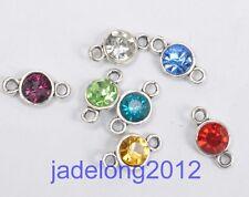 10pcs Mixed color Tibetan Silver Crystal Rhinestone Charm  Connector 13x7mm