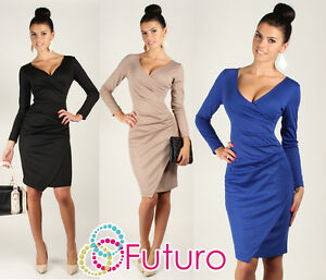Womens-Very-Elegant-Wiggle-Dress-V-Neck-Pencil-Party-Formal-Sizes-8-18-FA222